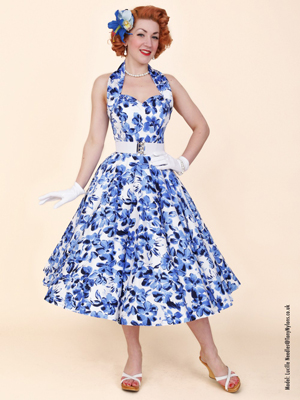 1950s Halterneck Circle Dress Blue Anemone from Vivien of Holloway