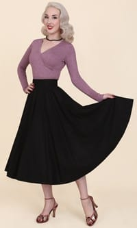 1950s Circle Skirt Black Flannel