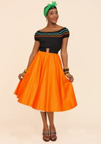 1950s Circle Skirt Tangerine Sateen