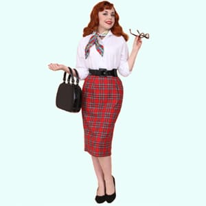 1950s Pencil Skirt Red Tartan