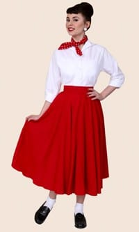 1950s Circle Skirt Red Flannel