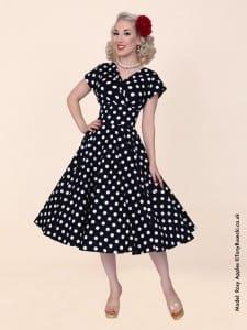 1940s Grace Wrap Circle Dress in Black and White Polkadot