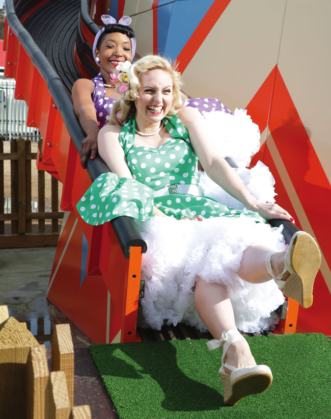 Petticoats a-flying on Dreamland's Helter-Skelter