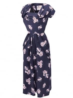 1940s Dress Lana Ash Peach Floral