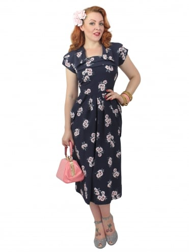 1940s Dress Lana Ash Peach Floral