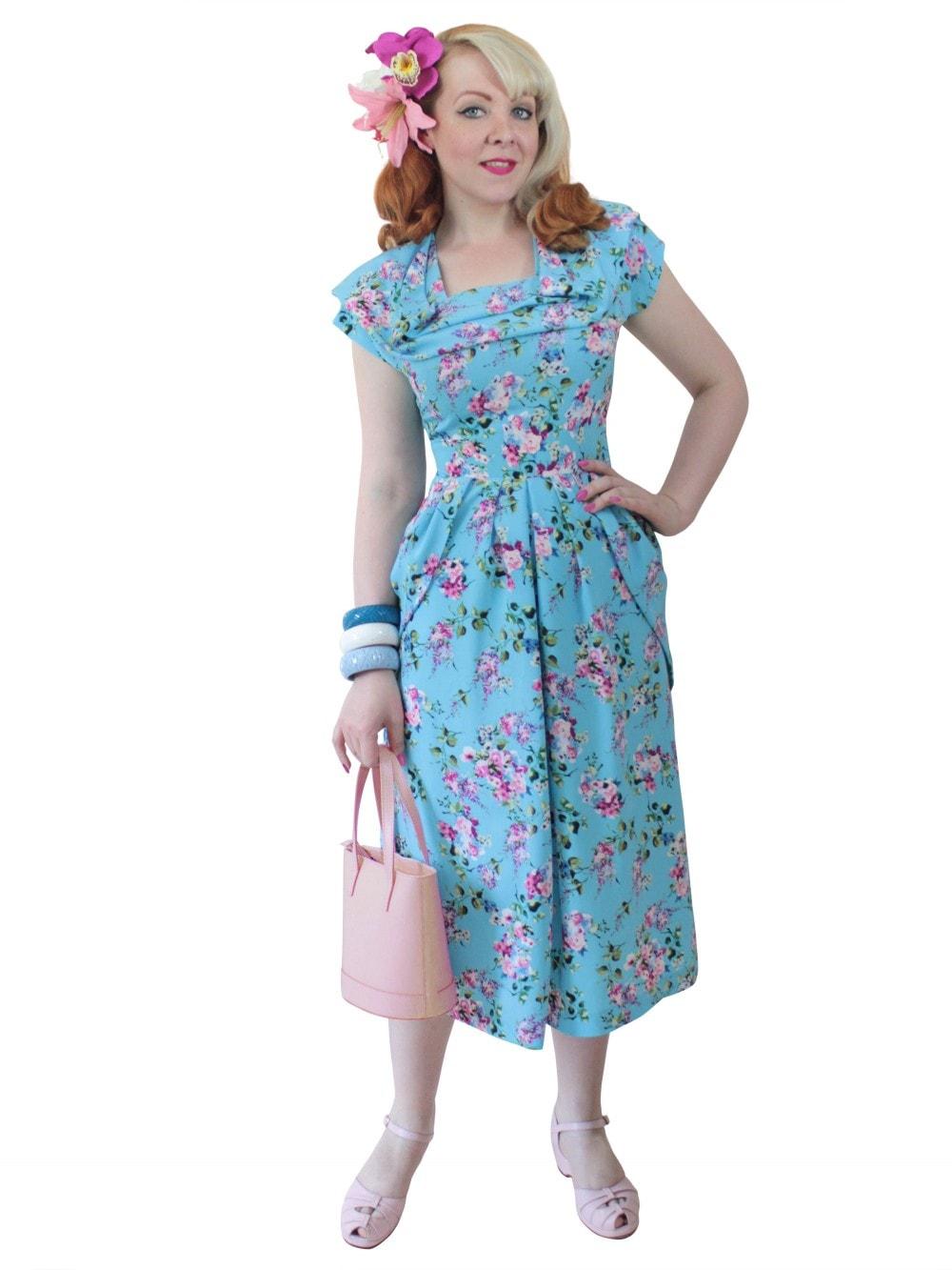 766d034e9aa3 1940s Dress Lana 1940s Dress Lana Belle Blossom from Vivien of Holloway