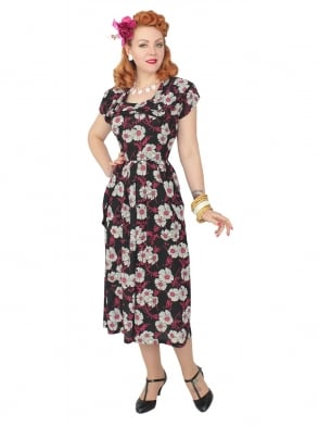 1940s Dress Lana Black Pink White Floral