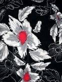 1940s Dress Lana Black White Red Floral