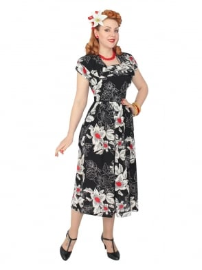 1940s Dress Lana Black White Red Floral