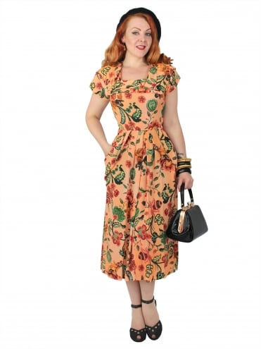 1940s Dress Lana Burnt Orange Floral