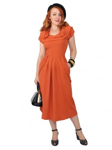 1940s Dress Lana Burnt Orange
