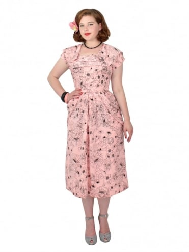 1940s Dress Lana Camile Pink
