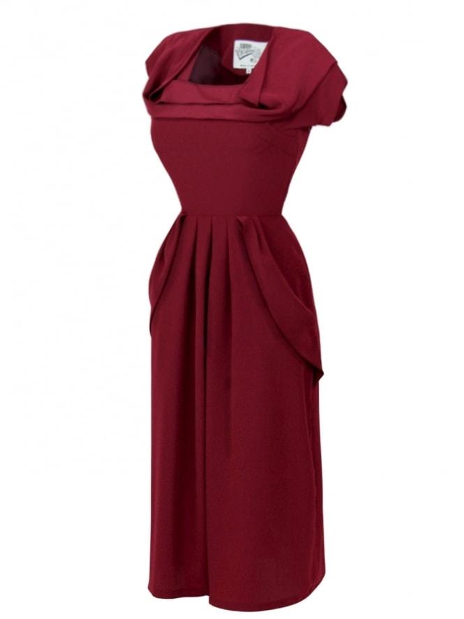 1940s Dress Lana Claret