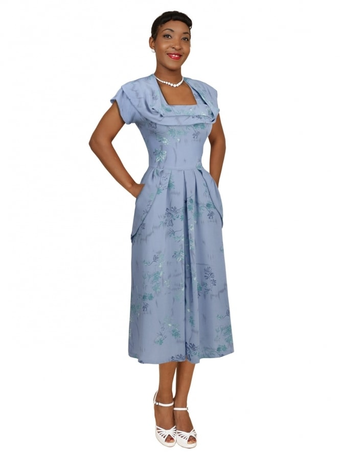1940s Dress Lana Cornflower