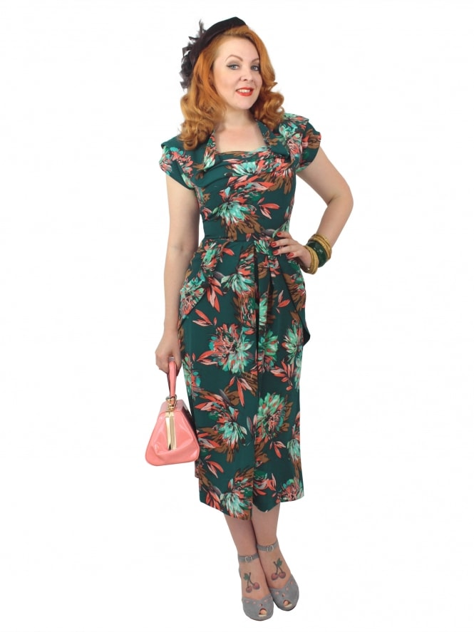 1940s Dress Lana Dahlia Green