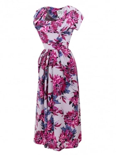 1940s Dress Lana Dahlia Purple