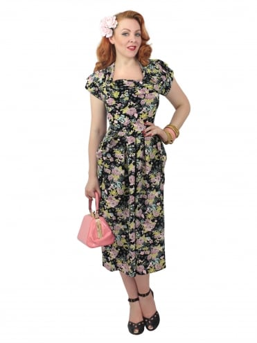 1940s Dress Lana Floral Black Pink