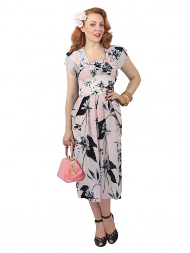 1940s Dress Lana Floral Blush