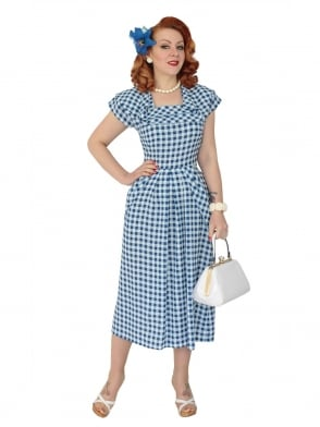 1940s Dress Lana Gingham Blue