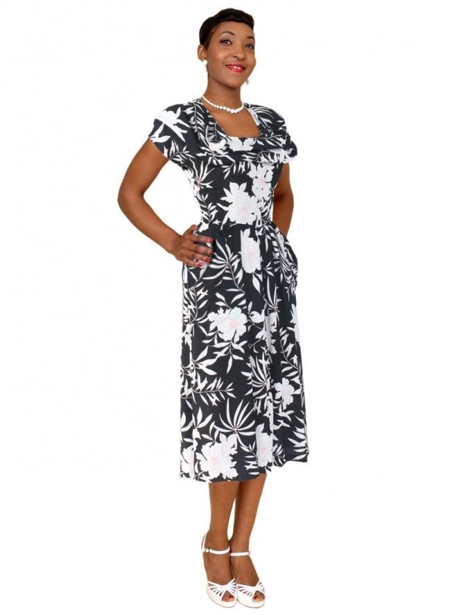 1940s Dress Lana Hibiscus Black Pink