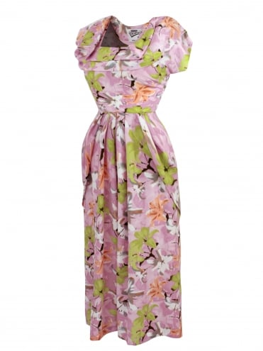 1940s Dress Lana Hibiscus Pink