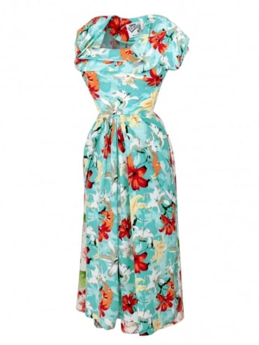 1940s Dress Lana Hibiscus Sky