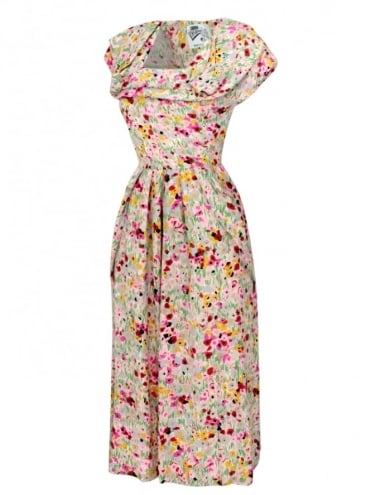 1940s Dress Lana Meadow Pink Grey
