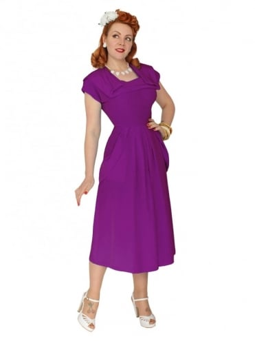 1940s Dress Lana Mulberry