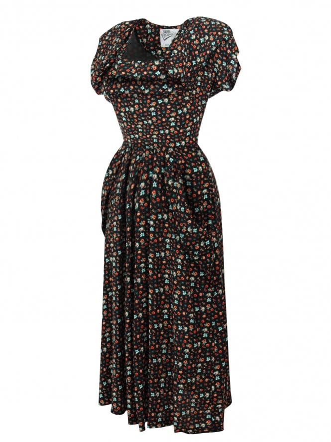 1940s Dress Lana Petite Fleur Black