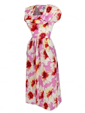 1940s Dress Lana Pink Floral