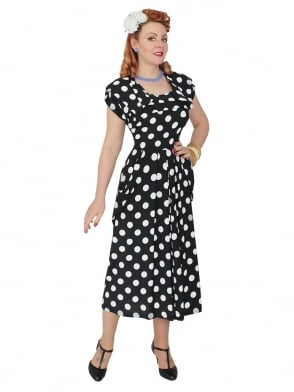 1940s Dress Lana Polka Black
