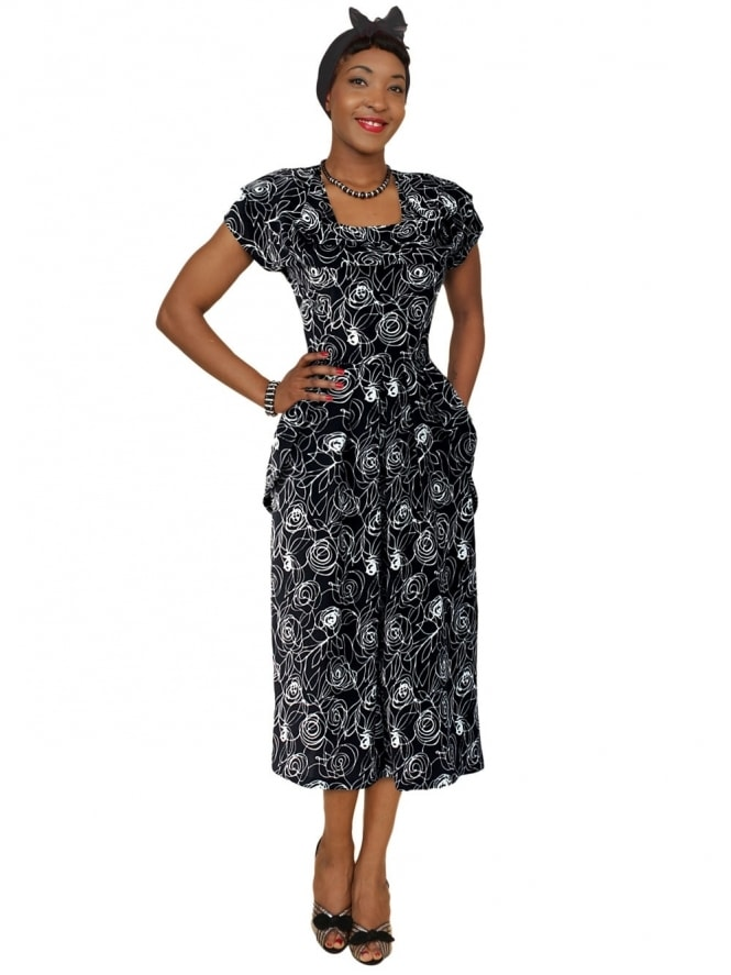 1940s Dress Lana Rose Black