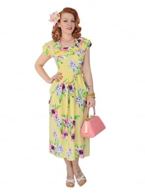 1940s Dress Lana Yellow Floral
