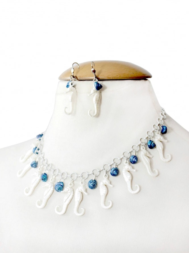 1940s Style Necklace and Earring Set - Pearly Seahorses with Blue Shells