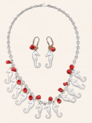 1940s Style Necklace and Earring Set - Pearly Seahorses with Red Shells