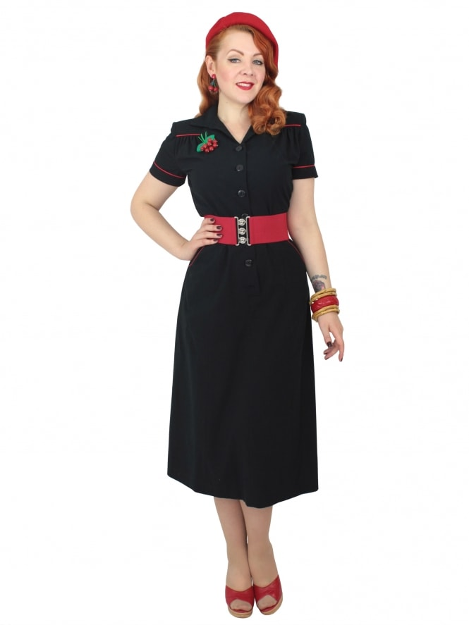 1940s Style Tea Dress Black Red Piping