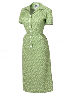 1940s Style Tea Dress Branch Lime