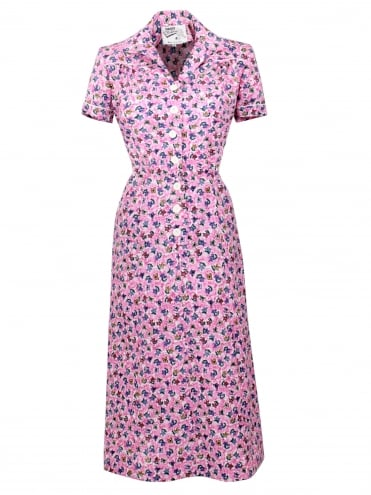 1940s Style Tea Dress Butterfly Pink