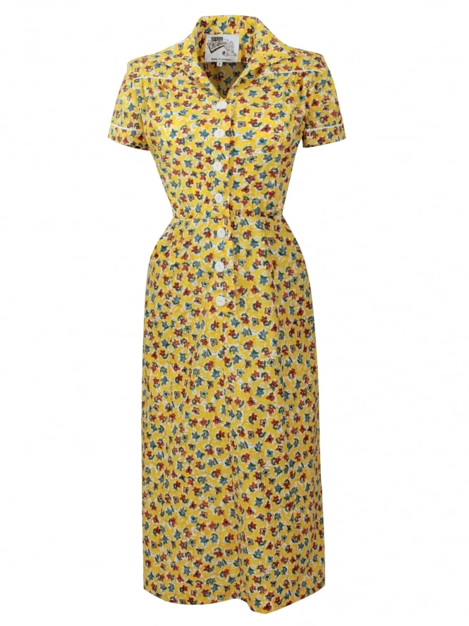 1940s Style Tea Dress Butterfly Yellow