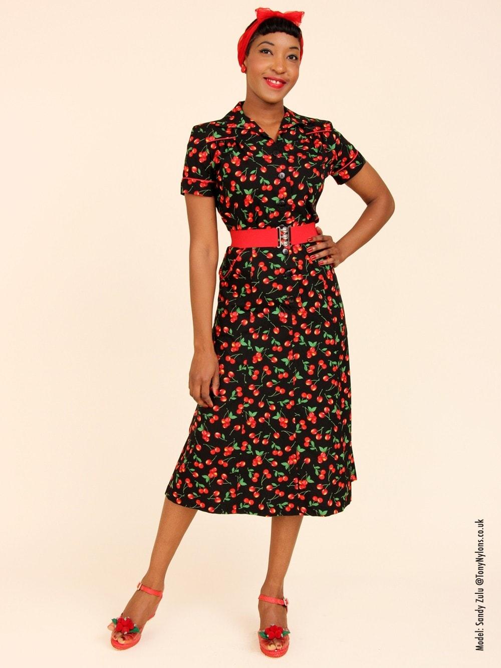 1940s Style Tea Dress Cherry Black From Vivien Of Holloway