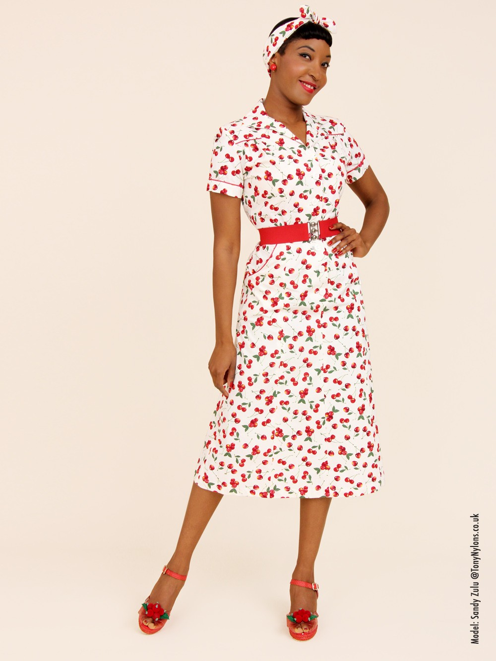1940s Day Wear: 1940s Style Tea Dress Cherry Cream From Vivien Of Holloway