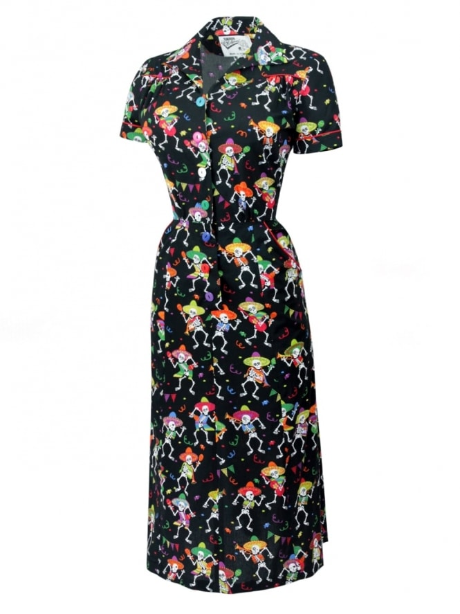 1940s Style Tea Dress Dancing Skulls