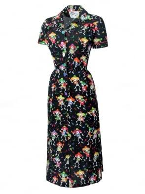 1940s Style Tea Dress Dancing Skulls