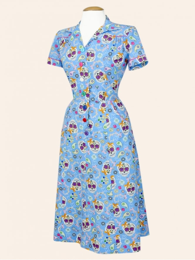 40s-1940s-Vivien-of-Holloway-Best-Vintage-Reproduction-Teadress-Tea-Day-Dress-Day-of-the-Dead-Utility-Rockabilly-Pinup