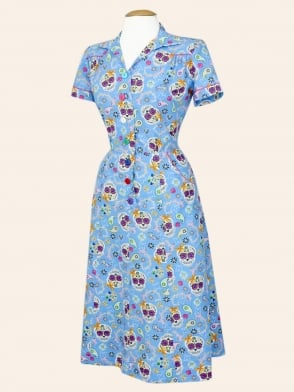 1940s Style Tea Dress Day of the Dead Blue
