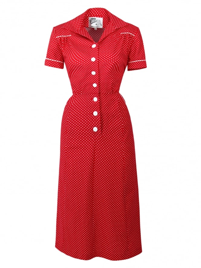 1940s Style Tea Dress Dot Crimson