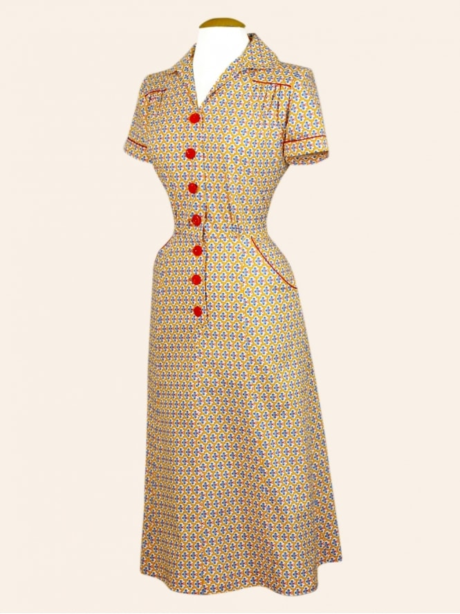 40s-1940s-Vivien-of-Holloway-Best-Vintage-Reproduction-Teadress-Tea-Day-Dress-Firefly-Orange-Utility-Rockabilly-Pinup