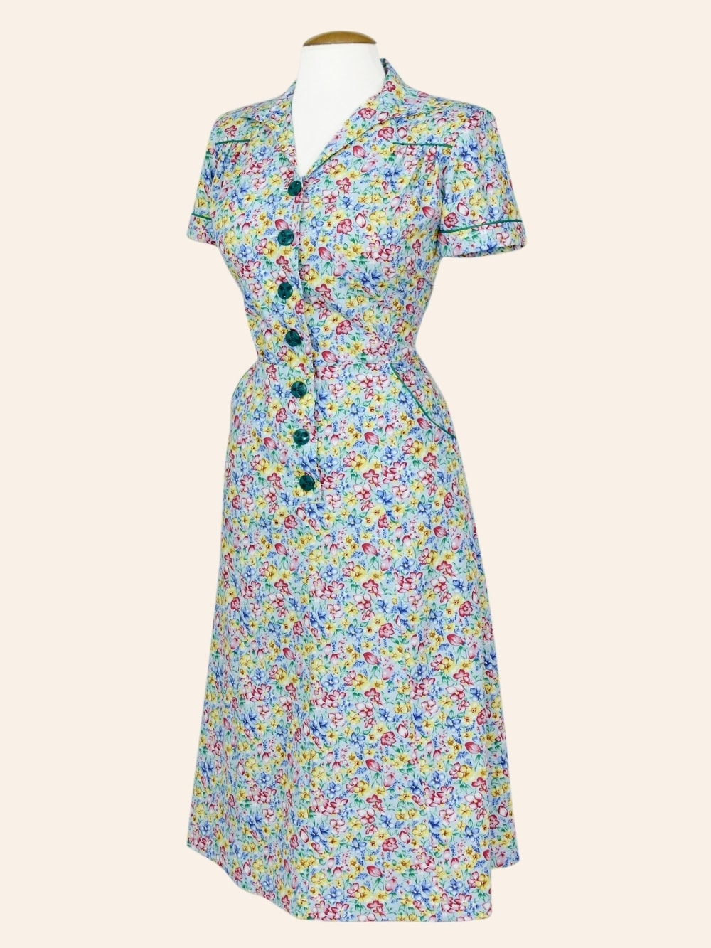 91288a099248 1940s Style Tea Dress Floral Blue from Vivien of Holloway