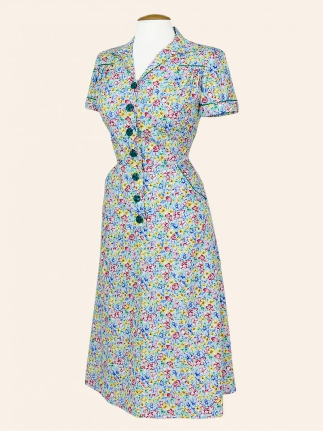 40s-1940s-Vivien-of-Holloway-Best-Vintage-Reproduction-Teadress-Tea-Day-Dress-Floral-Blue-Utility-Rockabilly-Pinup