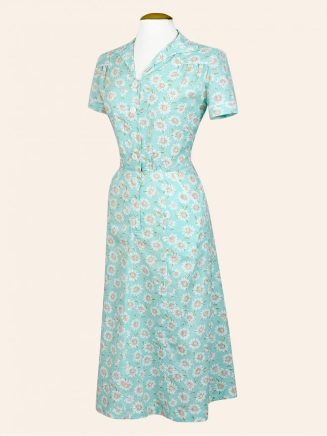 40s-1940s-Vivien-of-Holloway-Best-Vintage-Reproduction-Teadress-Tea-Day-Dress-Floral-Daisy -Utility-Rockabilly-Pinup